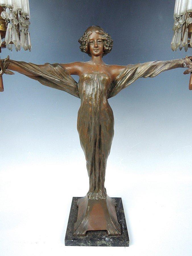 Large Art Nouveau Figural Lady Lamp - 3