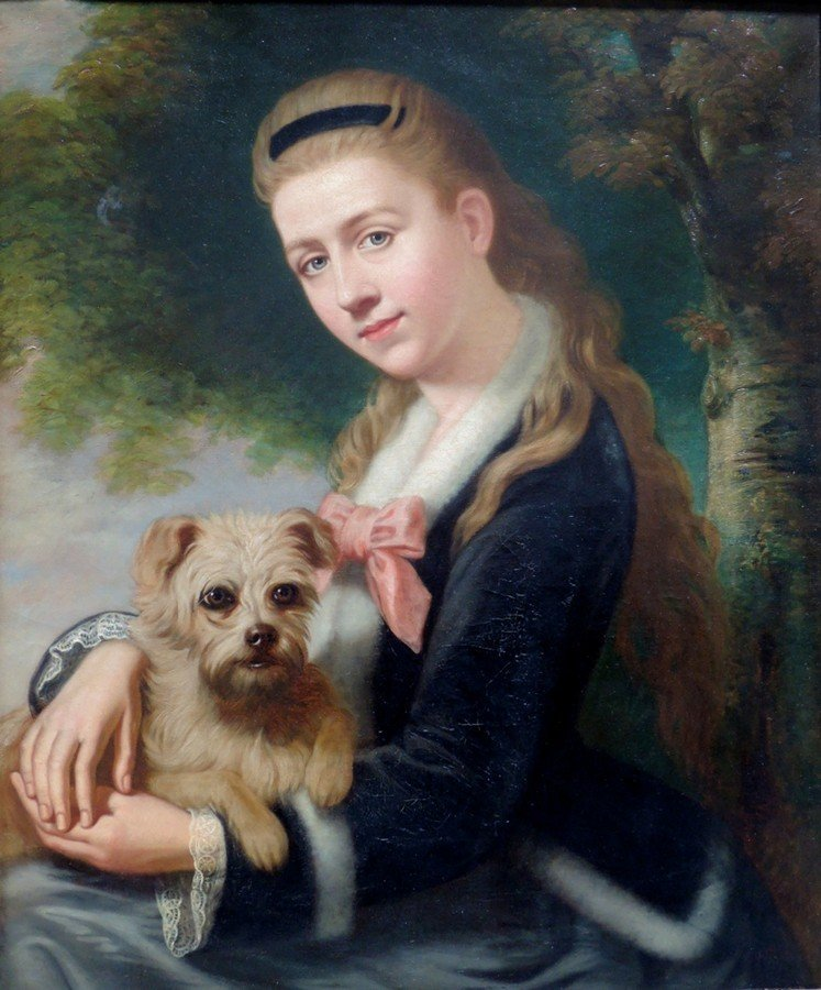John Everett Millais Sgd Lady & Dog Painting