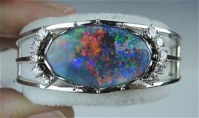 18K White Gold Opal Bracelet w Diamonds