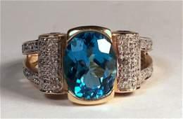 14K YG Blue Topaz Amethyst & Diamond Ring