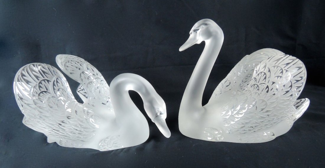 Pair Lalique Crystal Swans