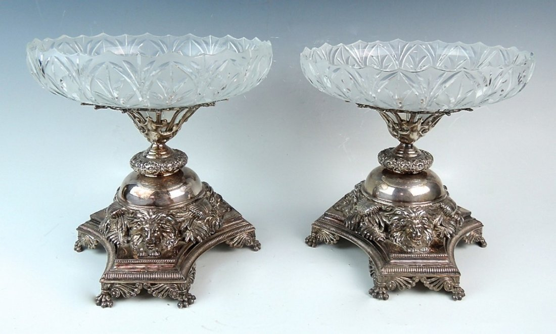 Pair English Silverplate Compotes by Pryor Tyzack