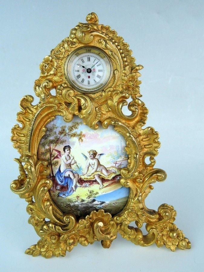 Miniature Bronze & Enamel Viennese Clock