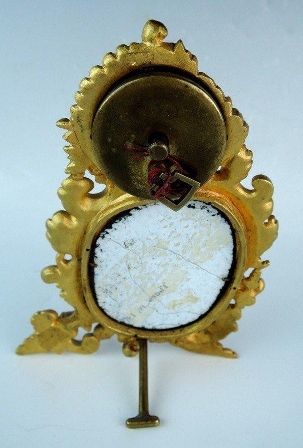 Miniature Bronze & Enamel Viennese Clock - 2