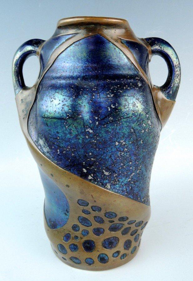 Art Nouveau Iridescent Pottery Vase w Overlay