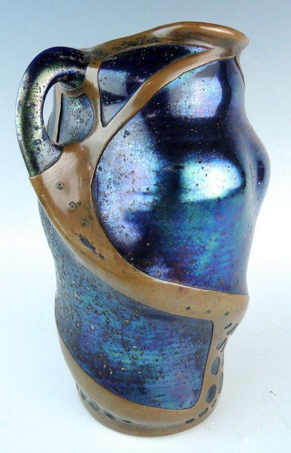 Art Nouveau Iridescent Pottery Vase w Overlay - 2