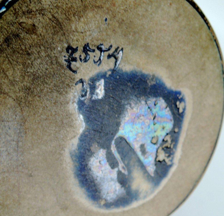 Art Nouveau Iridescent Pottery Vase w Overlay - 4