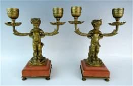 Pair Dore Bronze Faun Candlesticks