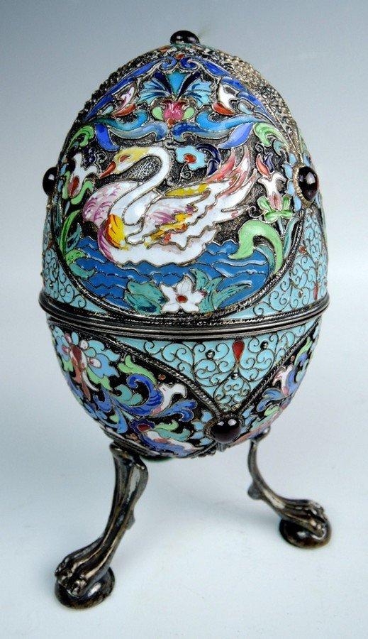 Large Russian Enamel & Silver Egg