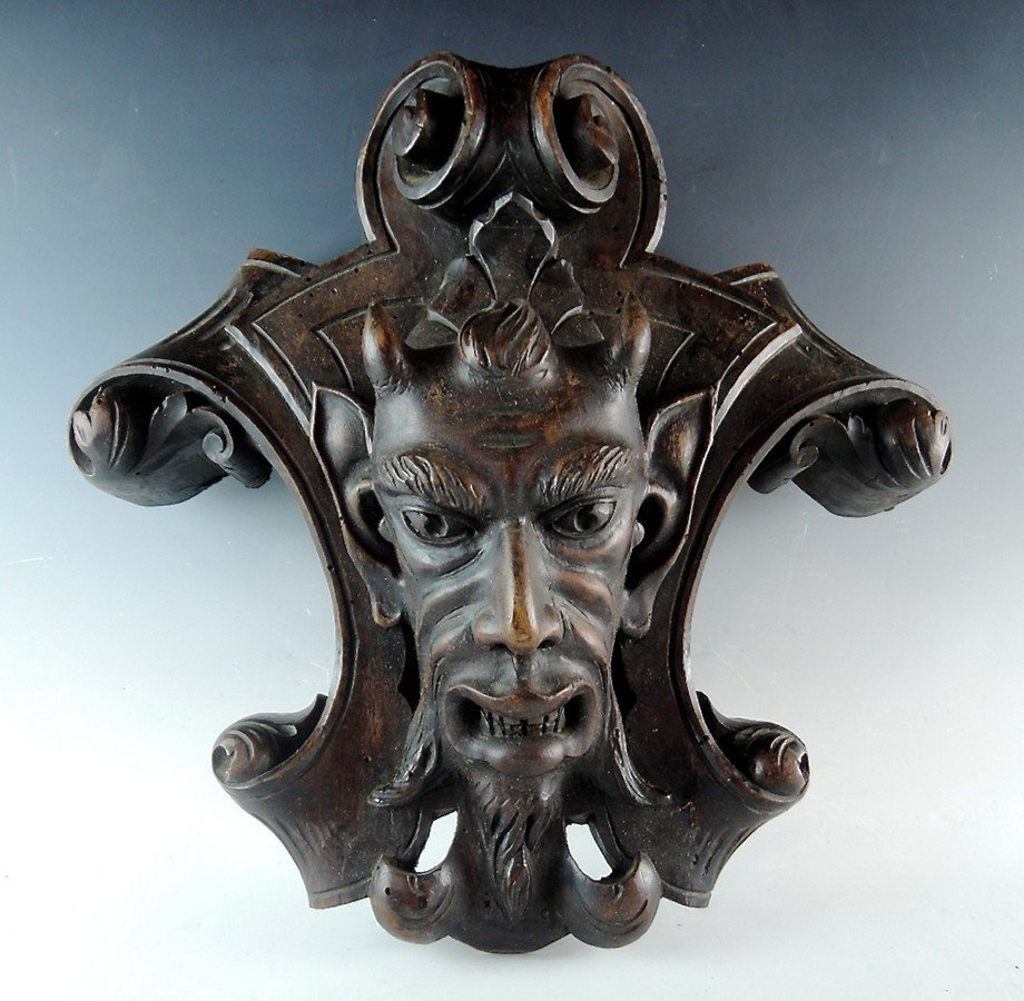 Carved Wood Devil's Face