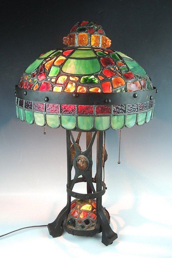 Large Austrian Chunk Jewel Leaded Lamp