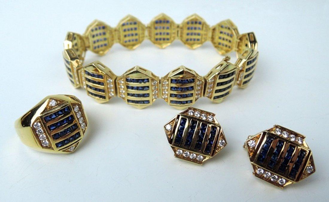 18K Diamond & Sapphire Bracelet, Ring & Earrings