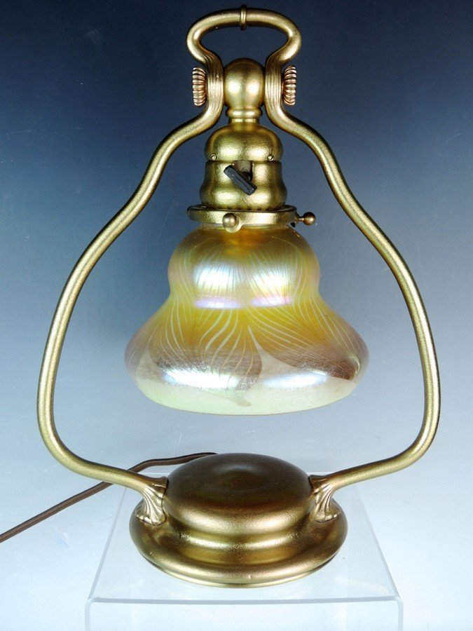 Tiffany Studios Harp Lamp w Favrile Shade