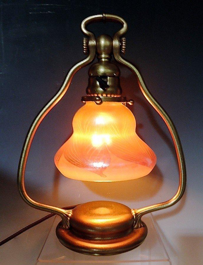 Tiffany Studios Harp Lamp w Favrile Shade - 2