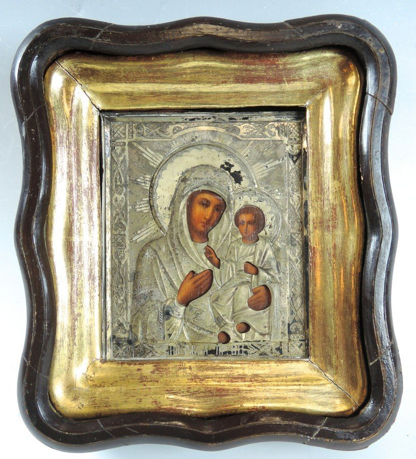 Antique Russian Icon Virgin and Child