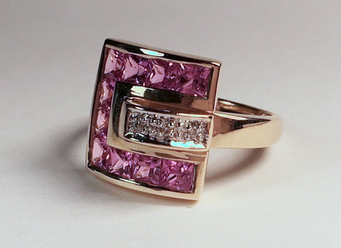 14K YG Pink Topaz & Diamond Ring
