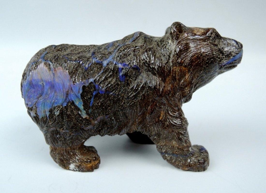 Carved Opal & Stone Bear