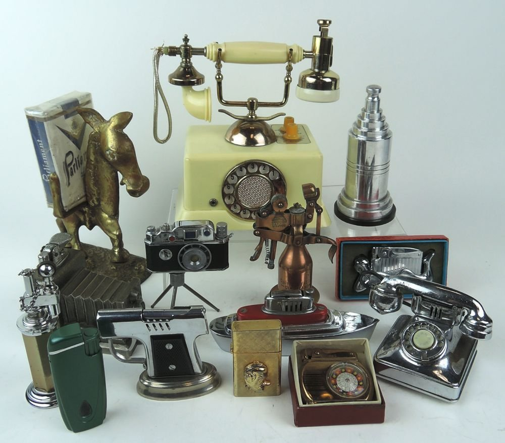 Group of 14 Vintage Lighters w Phone & Camera
