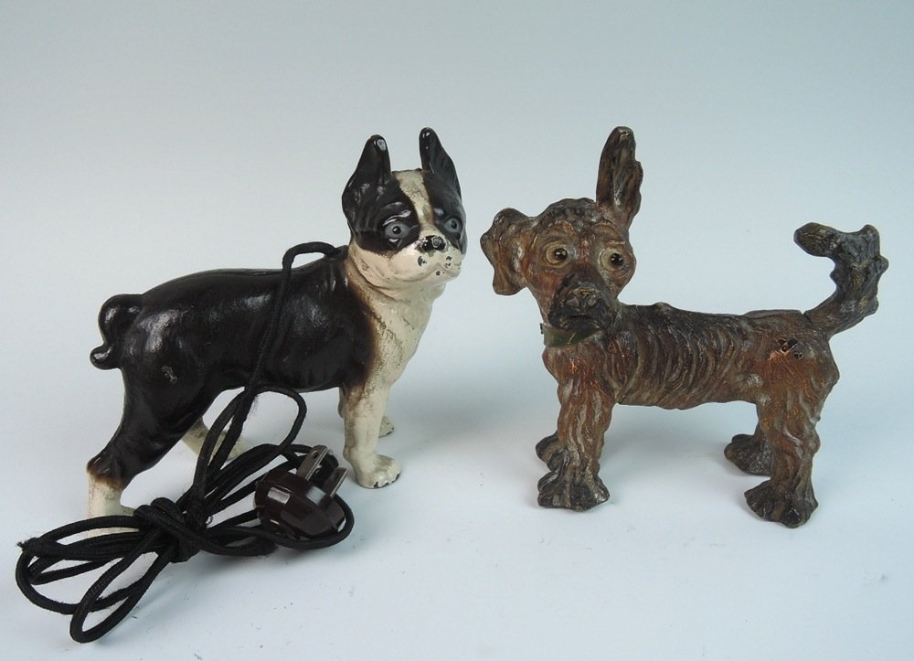 2 Figural Cold Painted Antique Dog Lighters