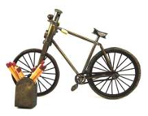 Rare Bicycle Cigar Cutter & Match Holder