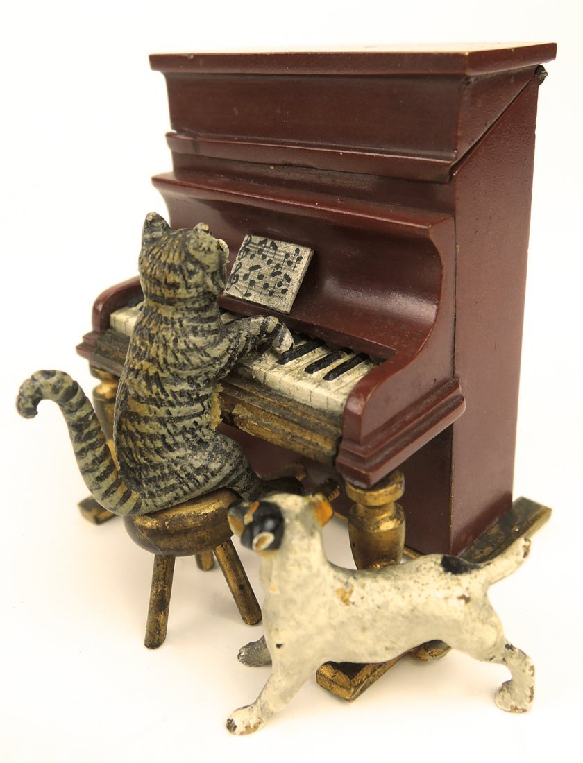 Vienna Bronze Cat Playing Piano Match Holder