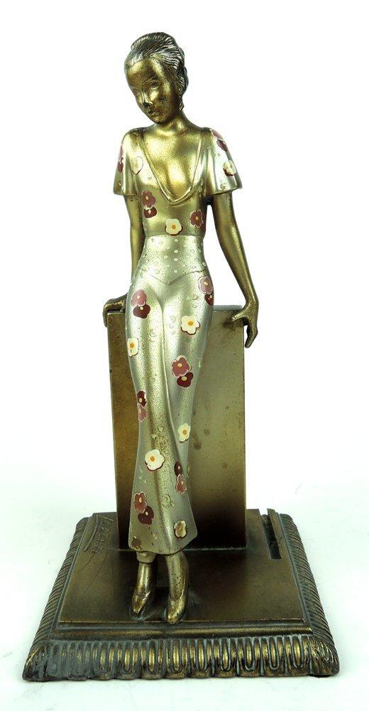 Art Deco Figural Cigar Lighter signed Lorenzl