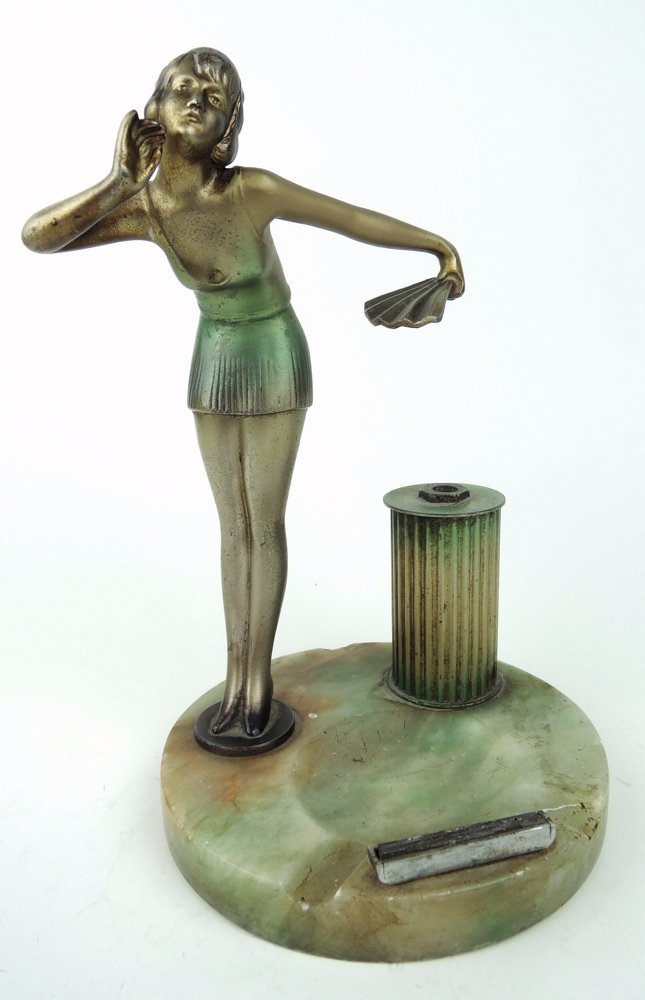 Art Deco Figure of Young Woman Cigar Lighter
