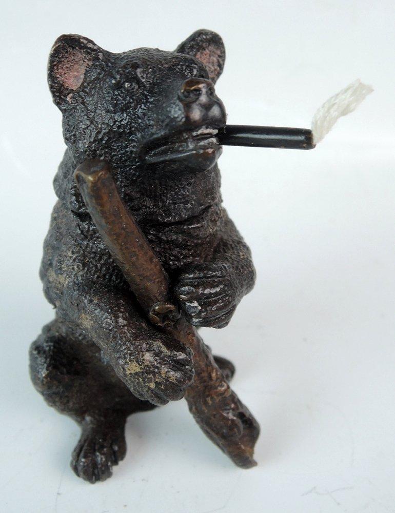 Bronze Bear with Rifle Cigar Lighter