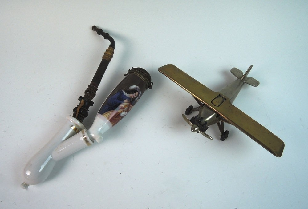 Antique Scenic Porcelain Pipe & Airplane Lighter