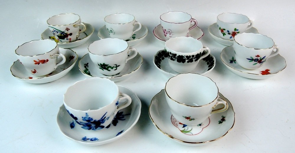 Meissen Group of 10 Demitasse Cups & Saucers