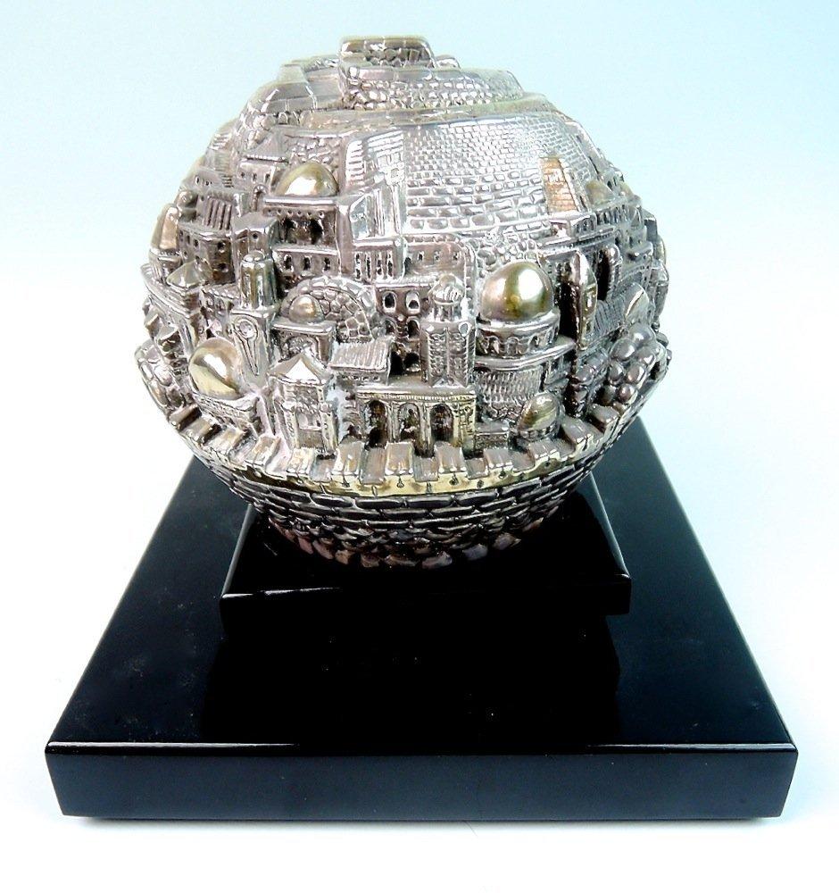 Signed Sam Philipe Sterling 925 Globe of Jerusalem