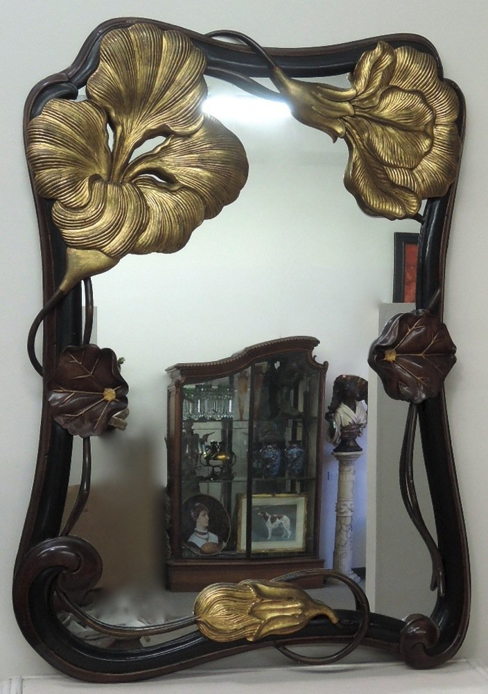 Art Nouveau Style Carved Wood Mirror