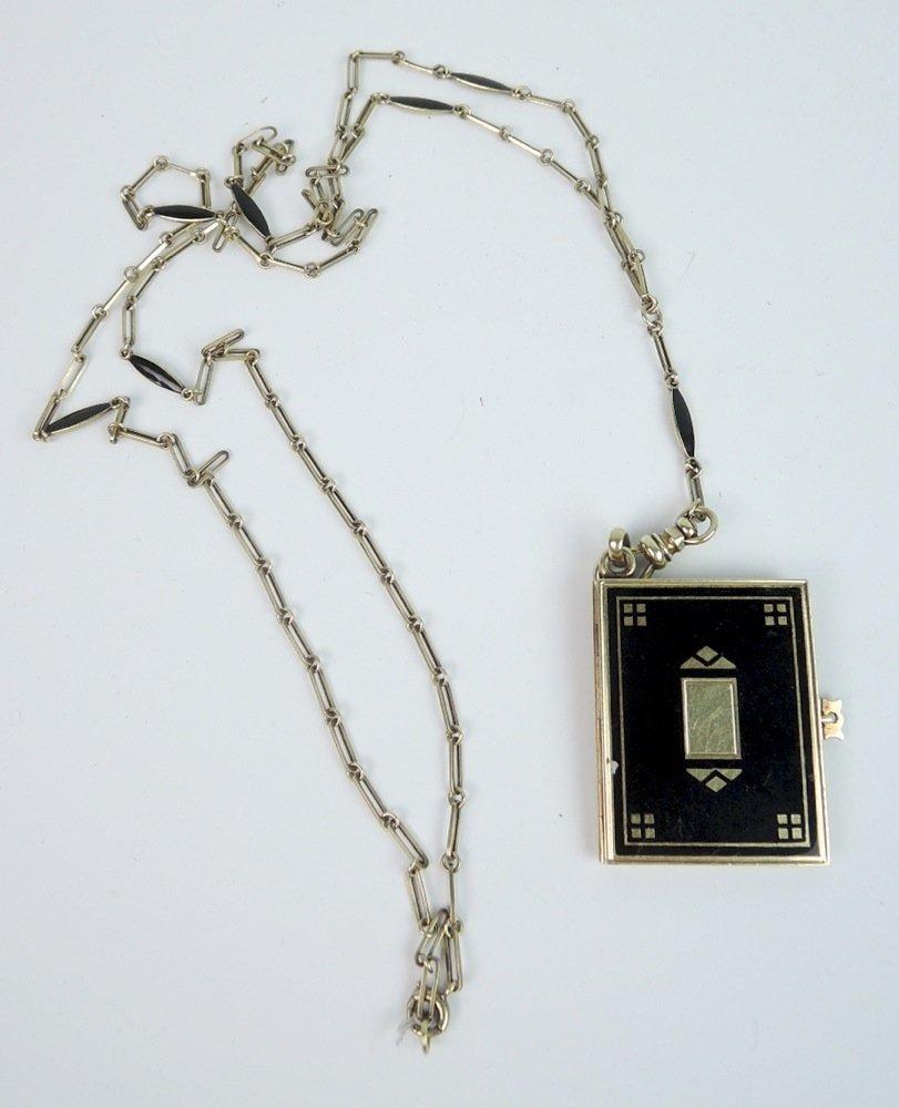 Victorian 14K & Enamel Locket & Chain
