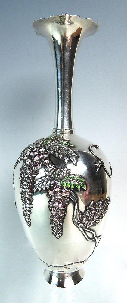 Japanese Meiji Enamel Decorated Silver Vase