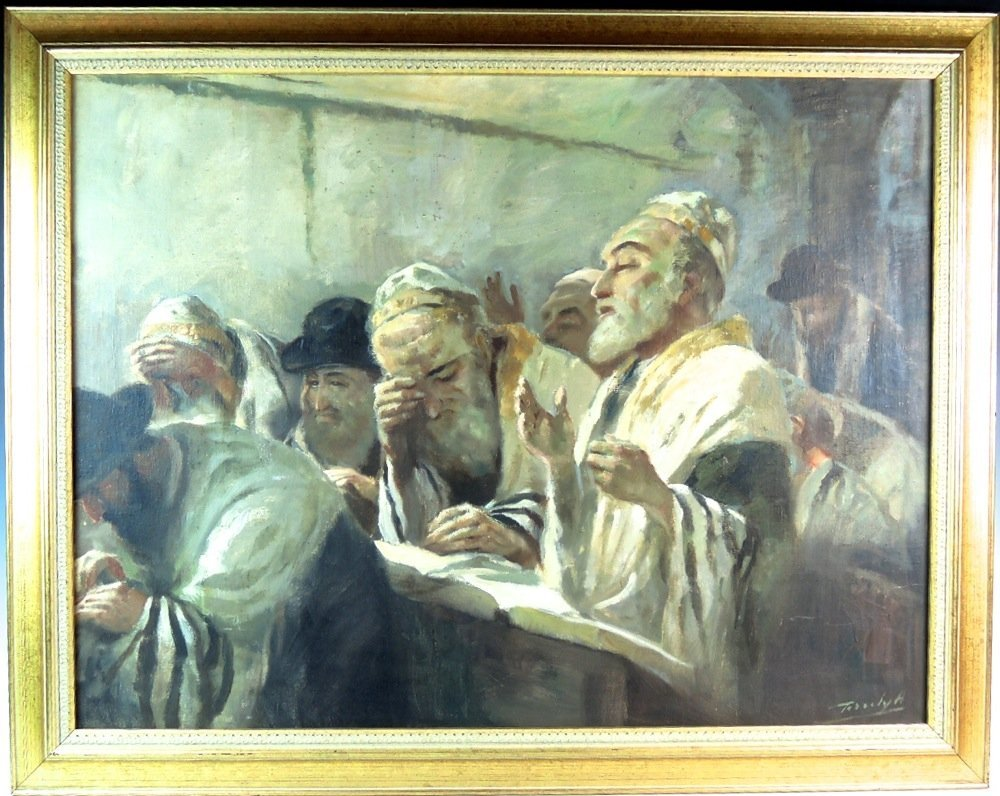 Judaica Oil Painting Group of Rabbis