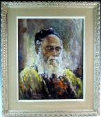 Signed William White Rabbi Painting