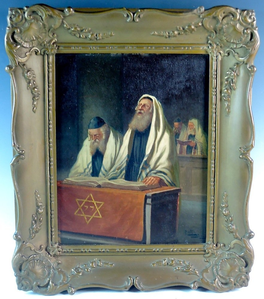 F. Lettou Danzio Judaica Oil Painting of Rabbis