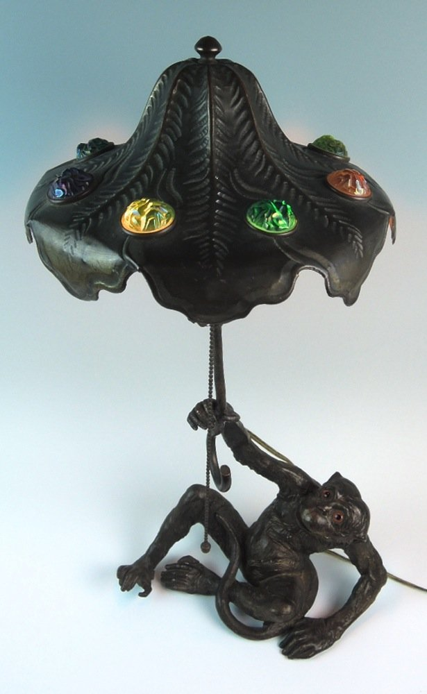 Rare Austrian Chunk Jewel Monkey Lamp