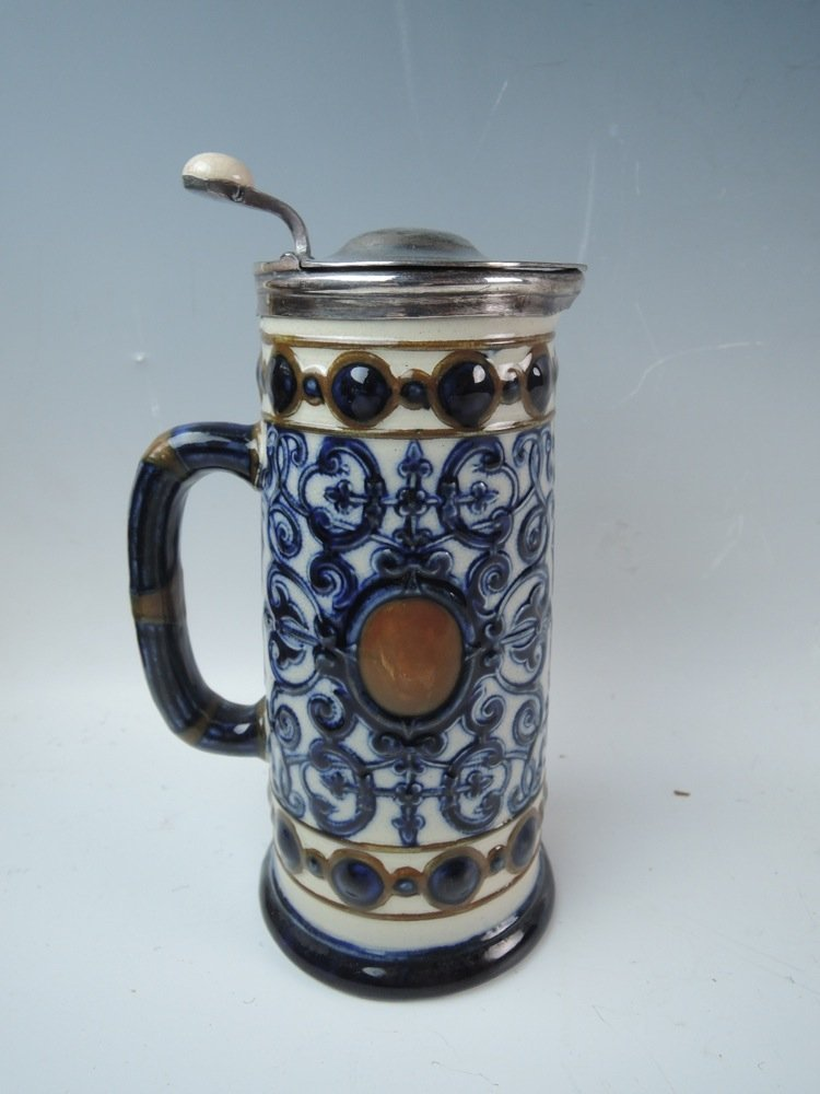 Signed Walker & Hall Silver Plate & Pottery Stein