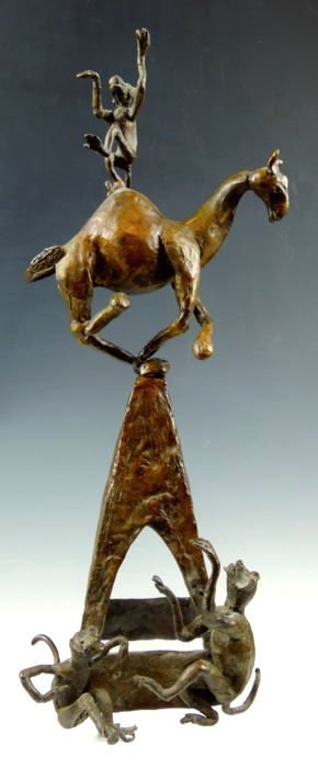 Whimsical Camel and Monkey Bronze Group