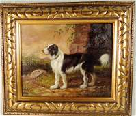 O/B Sheep Dog Painting Signed Arthur E. Becker