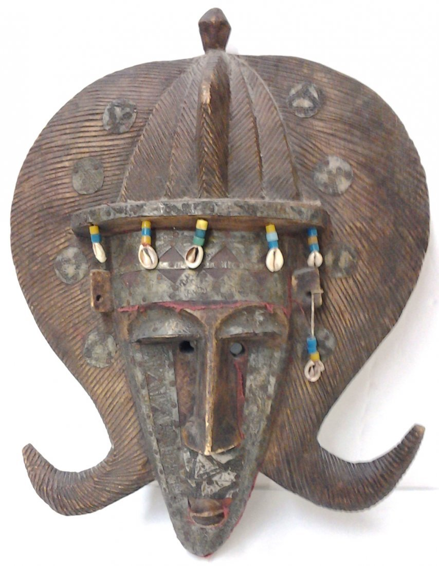 African Bambara Mask with Copper Cowrie Shells & Beads
