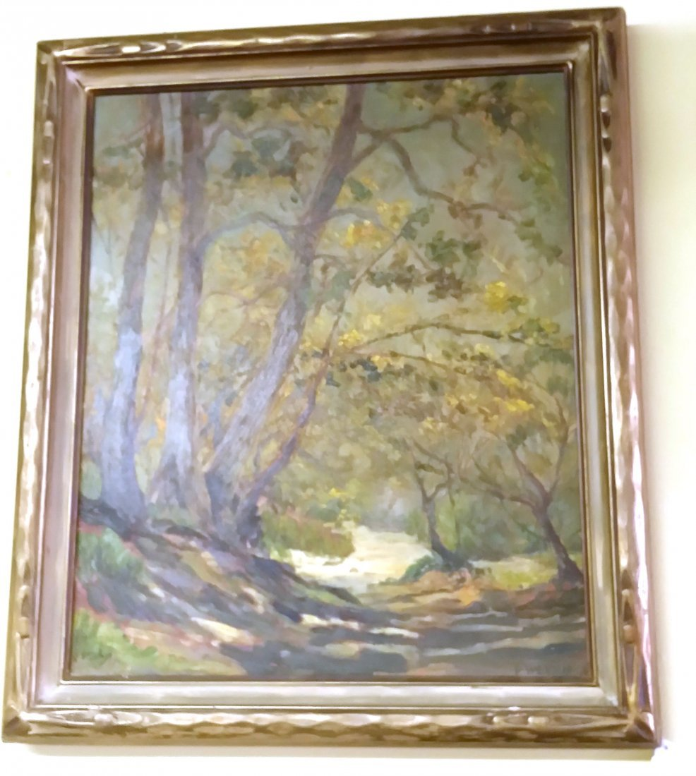 Antique American Circa 1930 Framed Oil On Canvas