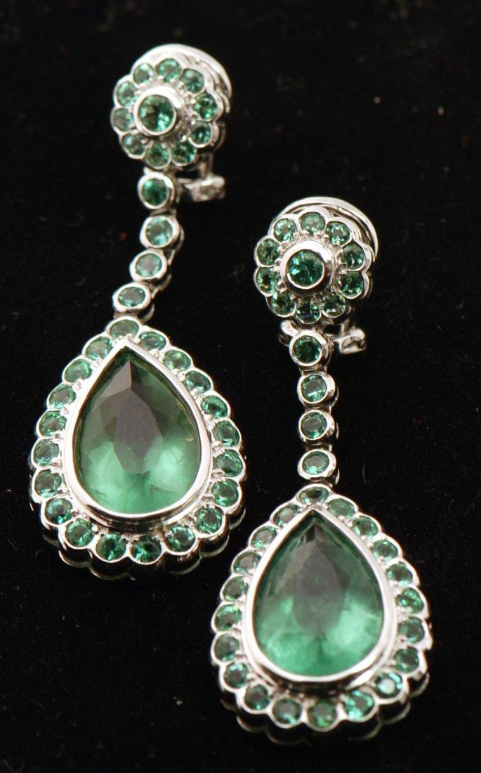 Certified 14k Gold Earrings Cusom Made Genuine Emeralds