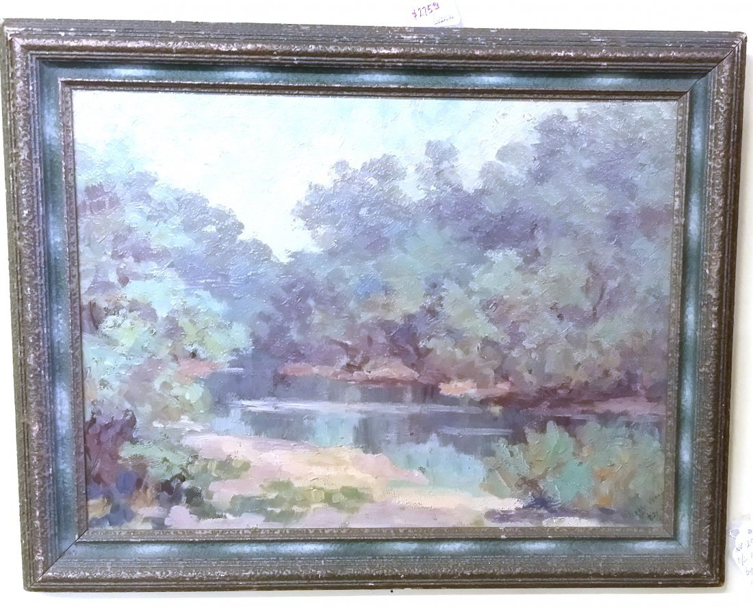 Antique American Framed Oil On Canvas by deceased