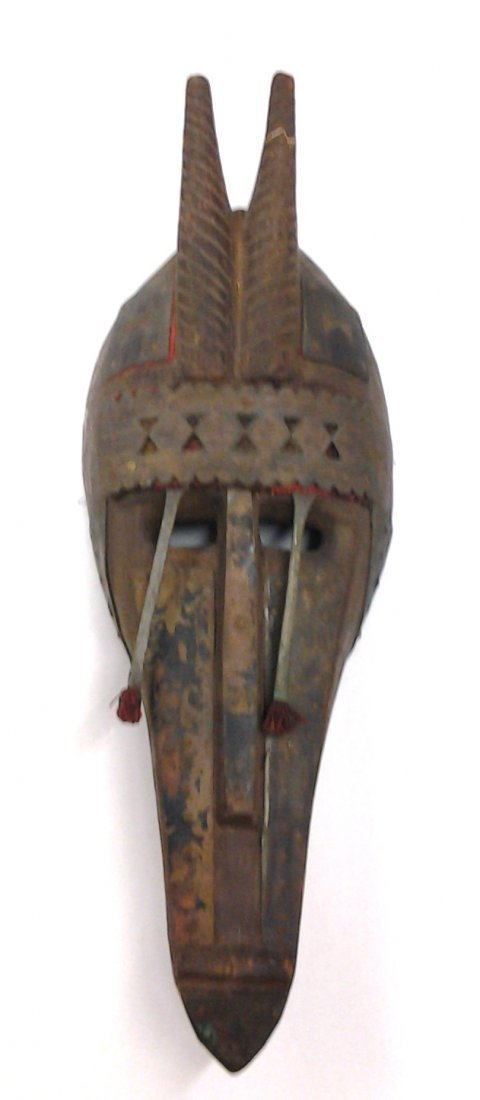 African Horned Bamana Mask Copper over Wood Mali (Part