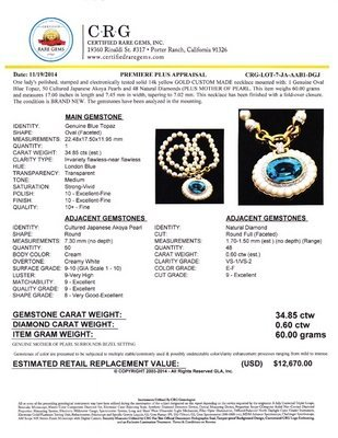 Certified 14K Solid Gold Akoya Pearl & Genuine Diamond
