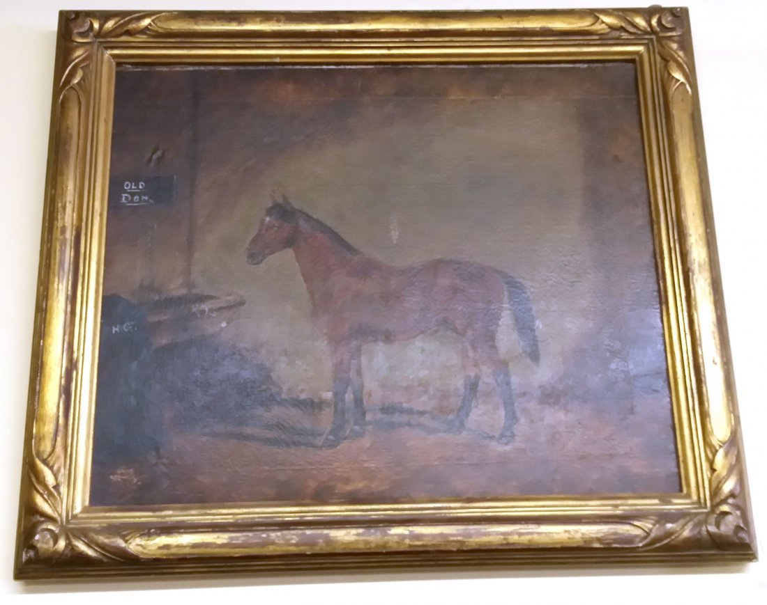 Antique American Framed Oil on Canvas Painting (Horse