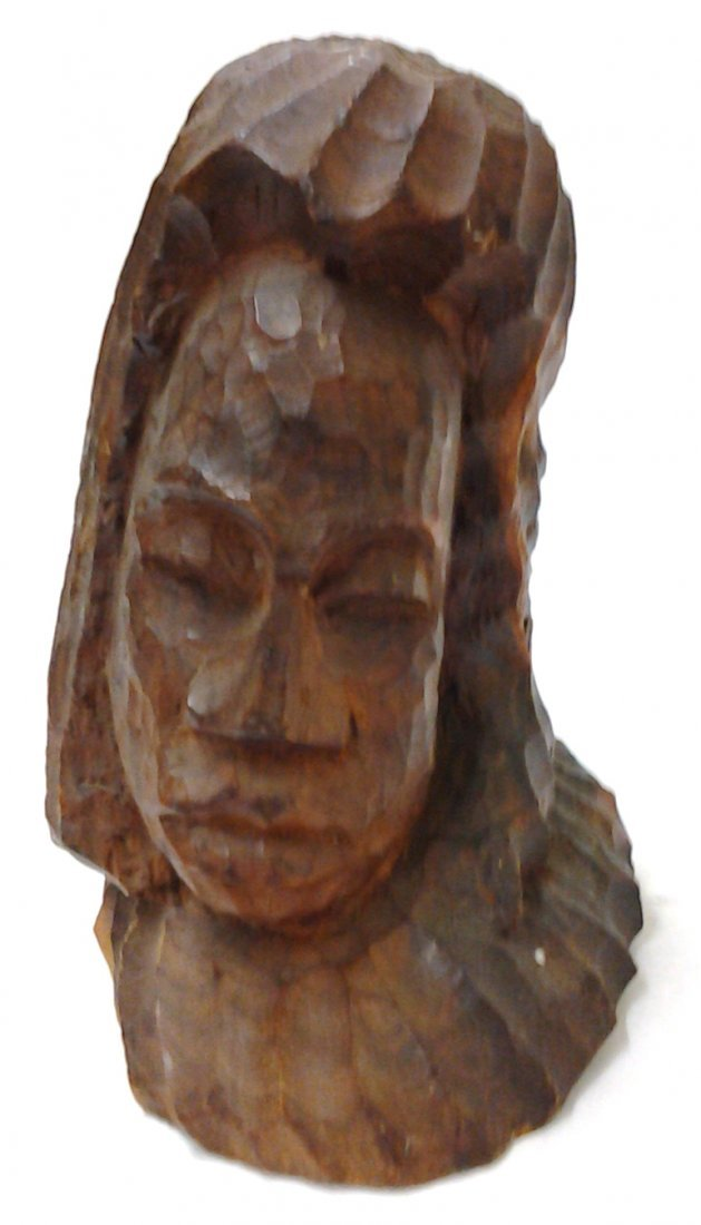 Ancient African Tribal Petrified Wood Head Carved