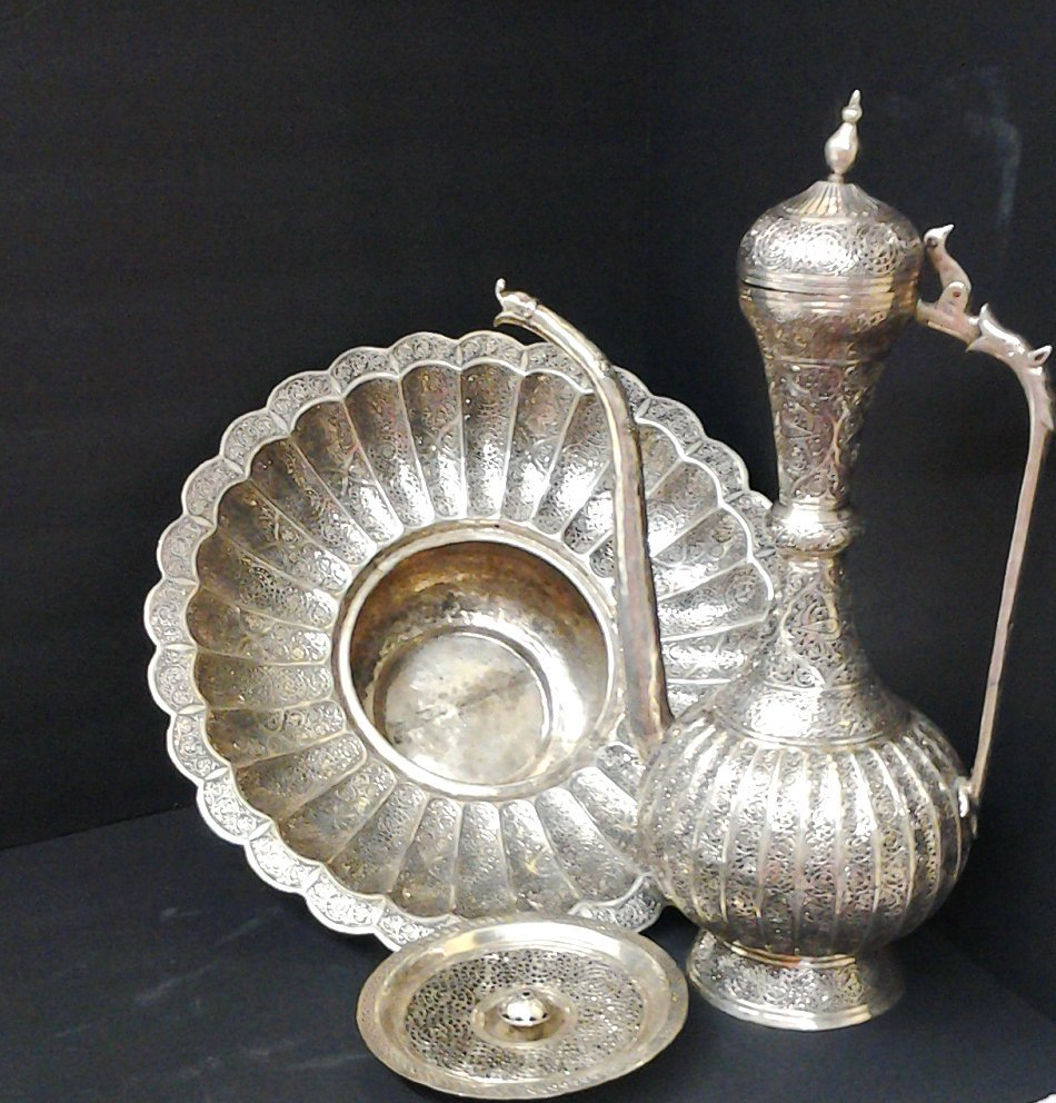 Ancient Silver Circa 1700 Persian Islamic Water Ewer